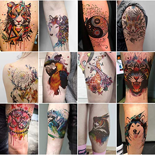 Oottati 12 Sheets Large Temporary Tattoos - 21x15cm Flower Arm Watercolor Hand Paint Fox Wolf Tiger Tai Chi Giraffe Deer Dream Catcher Owl Macaw Parrot For Men and Women