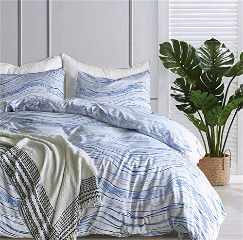 YULUOSHA Blue Striped Waves Duvet Cover Twin(66
