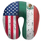 Camp Ursula Mexican American Flag Grunge Gift Soft Memory Foam Neck Support Travel Pillow