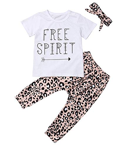 Toddler Newborn Baby Girl Clothes Set Daddy's Little Girl Outfit Long Sleeve Tops+Leopard Print Pants+Headbands (White, 110(4-5T)) (Toddler Leopard Leggings)