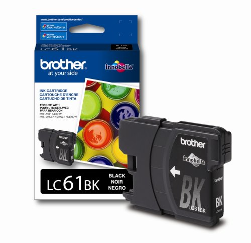 Brother LC61BK Ink Cartridge, 450 Page-Yield, Black (Brother Printer Ink Lc61)