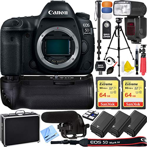 Canon 5D Mark IV EOS Full Frame DSLR Camera Body Triple Battery and Battery Grip Complete Video Recording Bundle