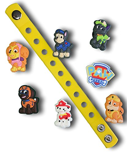 Jibbitz for Crocs Shoes by Nenistore| Cute Shoe Charms Plug Accessories for Crocs & Bracelet Wristband Party Gifts| NS08 (6pcs) & 01 Silicone Wristband 7 Inches by Nenistore
