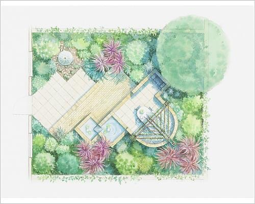 Cheap  10x8 Print of Illustration of a garden design with different levels, including..