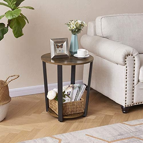 EKNITEY End Table, Industrial Round Side Table 2-Tier Small Sofa Couch Table with Storage Rack Snack Table Wood Look Accent Table with Metal Frame for Living Room, Bedroom, Coffee, and Small Spaces