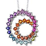 Sterling Silver 5.00 carats total weight Round shape Rainbow Color Double Swirl Pendant Necklace