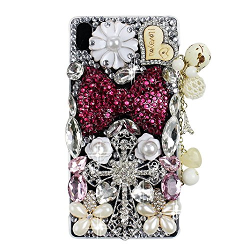 STENES Sony Xperia XZ/XZs Case - 3D Handmade Crystal Big Bowknot Heart Pendant Cross Flowers Sparkle Rhinestone Design Cover Case For Sony Xperia XZ/XZs With Retro Dust Plug - Red