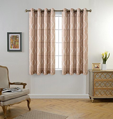 MIUCO Moroccan Embroidered Semi Sheer Curtains Faux Linen Wide Width Grommet Curtains for Bedroom 52 x 63 Inch 2 Panels, Taupe