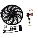 """16"""" Heavy Duty 12V Radiator Electric Wide Curved S Blade FAN & Thermostat Kit, 3000 CFM Reversible Push or Pull with Mounting Kit"""
