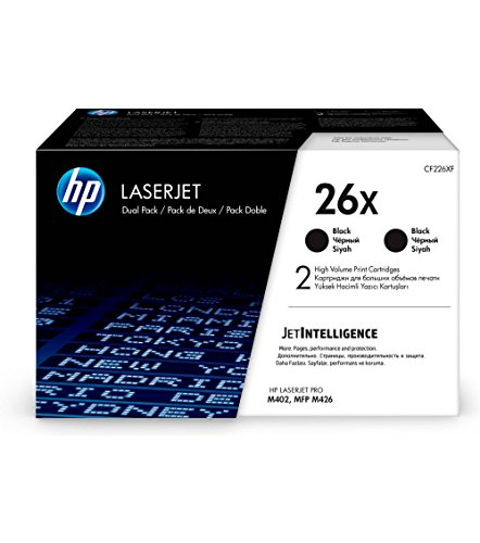 HP 26X (CF226X) Black Toner Cartridge High Yield, 2 Toner Cartridges (CF226XD) by HP