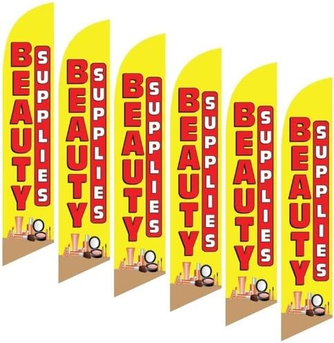 Six Pack Full Sleeve Swooper Flags BEAUTY SUPPLIES Red Yellow Makeup Image 6