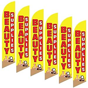 Six (6) Pack Full Sleeve Swooper Flags BEAUTY SUPPLIES Red Yellow Makeup Image