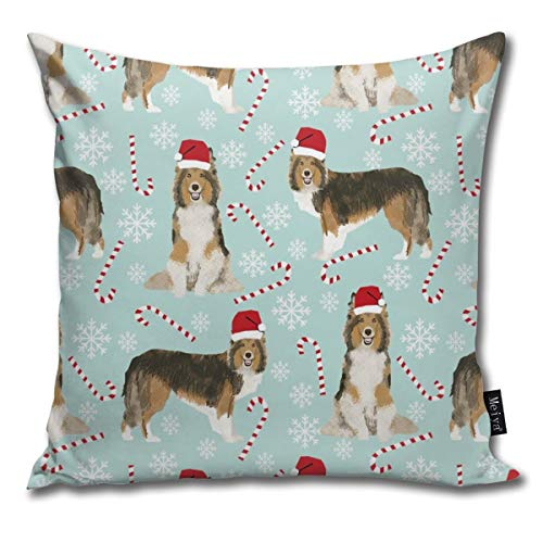 shirt home Sheltie Candy Cane Shetland Sheepdog Christmas Holiday Dog - Light Blue Comfortable Soft Bed Pillow Case Household Pillow Case Office Bolster 18x18 Inches (Teepee Table Bath And Bed)