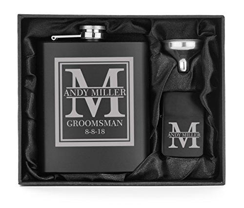 Engraved 7oz Matte Black Stainless Steel Hip Flask Funnel & Lighter Block Initial Deluxe Gift Box Custom Personalized