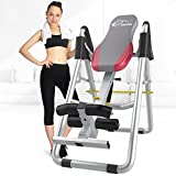 Crystal Inversion Table for Back Therapy / Fitness / Relief, Adjustable Folding Therapy Back Inversion Table with Ultra-Thick Backrest for Home Exercise (Grey&Red)