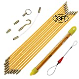 Boeray 33' Fiberglass Running Electrical Wire Cable Pulling Fish Tape kit with 5 different attachments in a Carrying Case