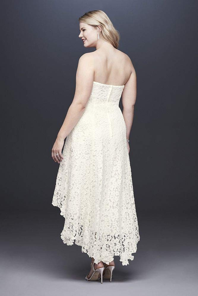 High-Low Tea-Length Lace Plus Size Wedding Dress Style 9WG3925, Ivory, 18W
