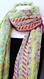Chiffon Silk Yellow Pink Long Big Scarf, Neck Wear, Wrap, Intricate Delicate Embroidered Fabric, Sofa Throw