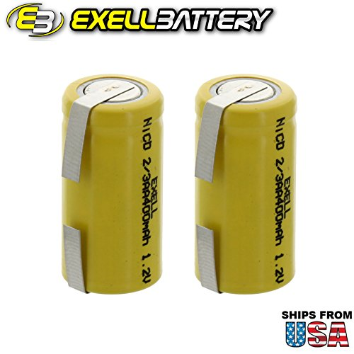 2x Exell 2/3AA 1.2V 400mAh NiCD Rechargeable Batteries with Tabs for meters, radios, hybrid automobiles, high power static applications (Telecoms, UPS and Smart grid), radio controlled devices