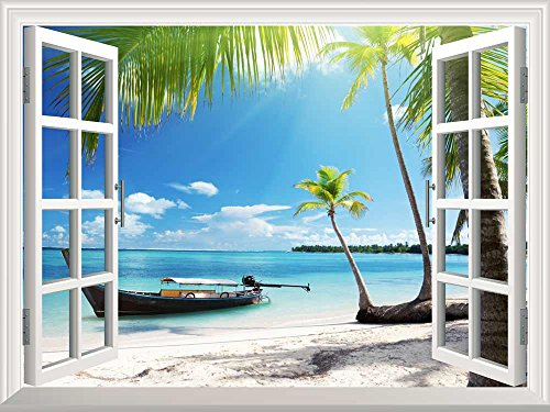 wall26 Removable Wall Sticker / Wall Mural - Boat on the Oceanside | Creative Window View Wall Decor - (Caribbean Wall Mural)
