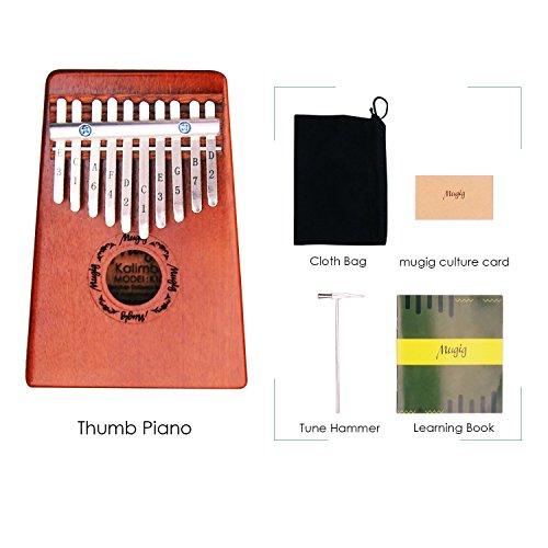 Mugig Kalimba Mbira Sanza 10 Keys Thumb Piano Pocket Size Beginners Friendly Supporting Kalimba Bag and Musical Notation - Image 4