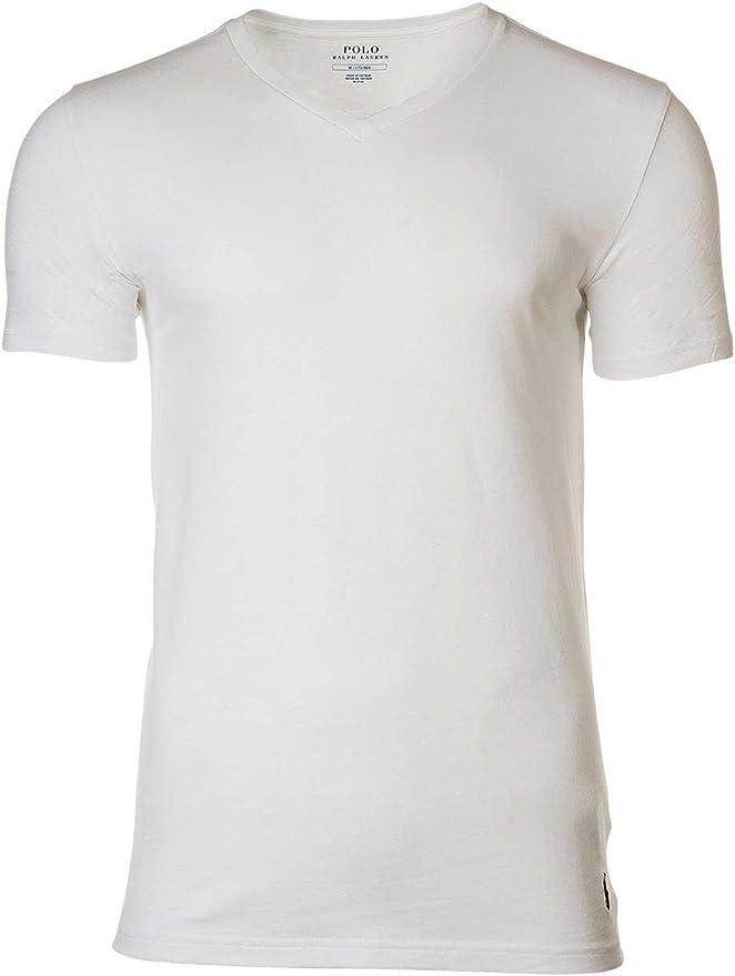 Polo Ralph Lauren 3 Pack Camisetas Hombre, Cuello V, Media Manga - Blanco: Amazon.es: Ropa y accesorios
