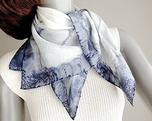 (Hand Painted Neck Scarf, Silk Square Black to Pale Gray, Hand Hemmed Habotai, One of a Kind Signed by Jossiani.)