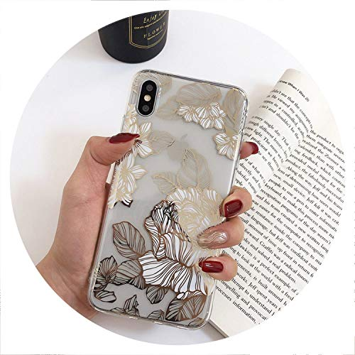 Gold Bronzing Rose Flower Clear Case for iPhone X XR XS Max Glossy Soft Silicone Case for iPhone 6 6s 7 8 8Plus Phone Back Cover,Type 2,for iPhone 7