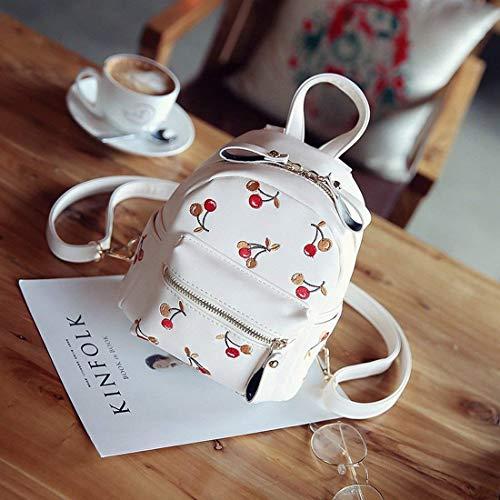 Blanc à Taille Lady bandoulière Blanc Casual à Dos Broderie Sac Mini Sac Street Cerisier Handbags coloré qOxa0