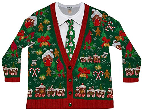 Faux Real Men's Big-Tall Ugly X-Mas Cardigan Long Sleeve T-Shirt, Multi, (Big And Tall Christmas Sweaters)