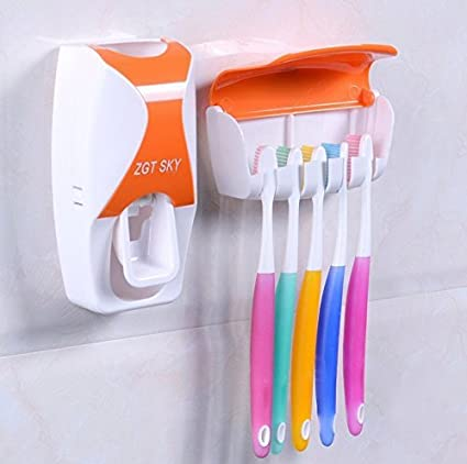 JVJ Dispensador Automático de Pasta / Automatic Toothpaste Dispenser+ cepillo de dientes Toothbrush Holder--