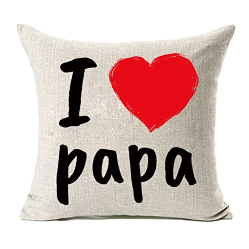MFGNEH I Love Papa with Red Heart Cotton Linen Throw Pillow Covers, Throw Pillow Case Cushion Cover 18 x 18 Inches,Dad Gifts