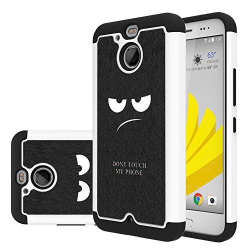 HTC Bolt Case ,LEEGU [Shock Absorption] Dual Layer Heavy Duty Protective Silicone Plastic Cover Case for HTC Bolt - Don't Touch My Phone