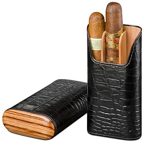 Double Corona Cigar Box (Brizard & Co Croco Black Leather and Zebrawood 3 Finger Cigar Case)