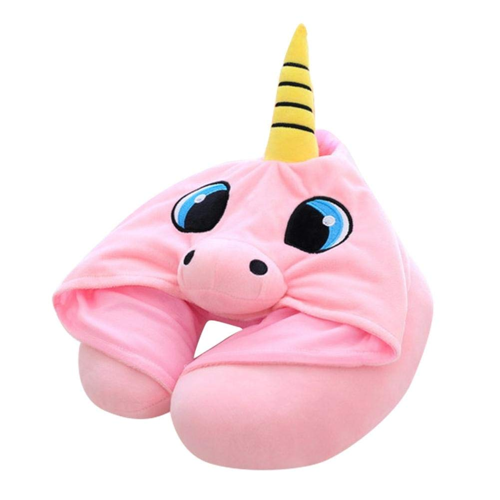 Anivia Unicorn Shaped Hooded Animal Travel Neck Pillow Comfortable Neck Support Plush Toy Gift Perfect for Airplane Travel