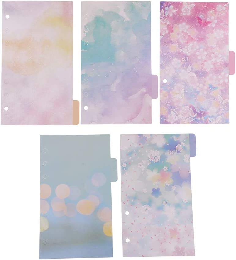 5pcs A6 Floral Memo Indexing Dividers Sheet for Journal Note Book 6 Hole Scrapbook//Album Accessories Cool Colors