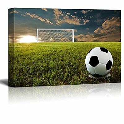 Canvas Prints Wall Art - Close Up of Soccer Ball on an Open Field | Modern Wall Decor/Home Decoration Stretched Gallery Canvas Wrap Giclee Print. Ready to Hang - 24