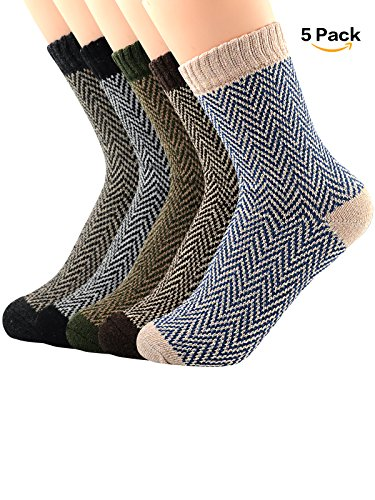 Zando Womens Cabin Winter Warm Thick Knit Wool Cozy Crew Socks Casual Vintage Style Mid Calf Socks 5 Pack - Mix Weave 6-11(US) (Suit Print Wool)