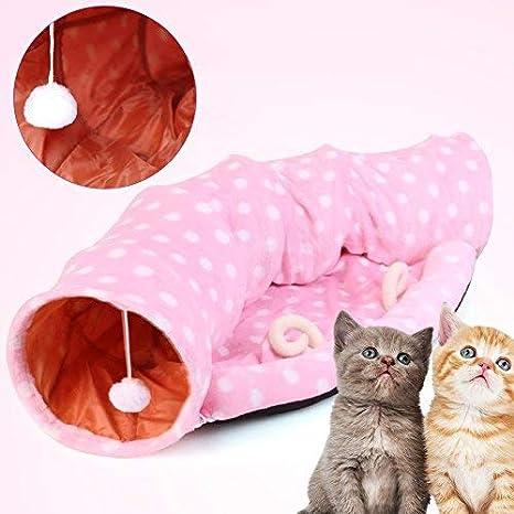 Broadroot túnel de 2 vías para Gatos para Gato Juguete de Mascota Plegable con Cama de