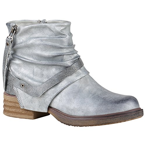 Stiefelparadies Damen Biker Boots Leder-Optik Stiefeletten Warm Gefütterte Booties Blockabsatz Winter Schuhe Winterboots Zipper Snake Print Flandell Silber Arriate