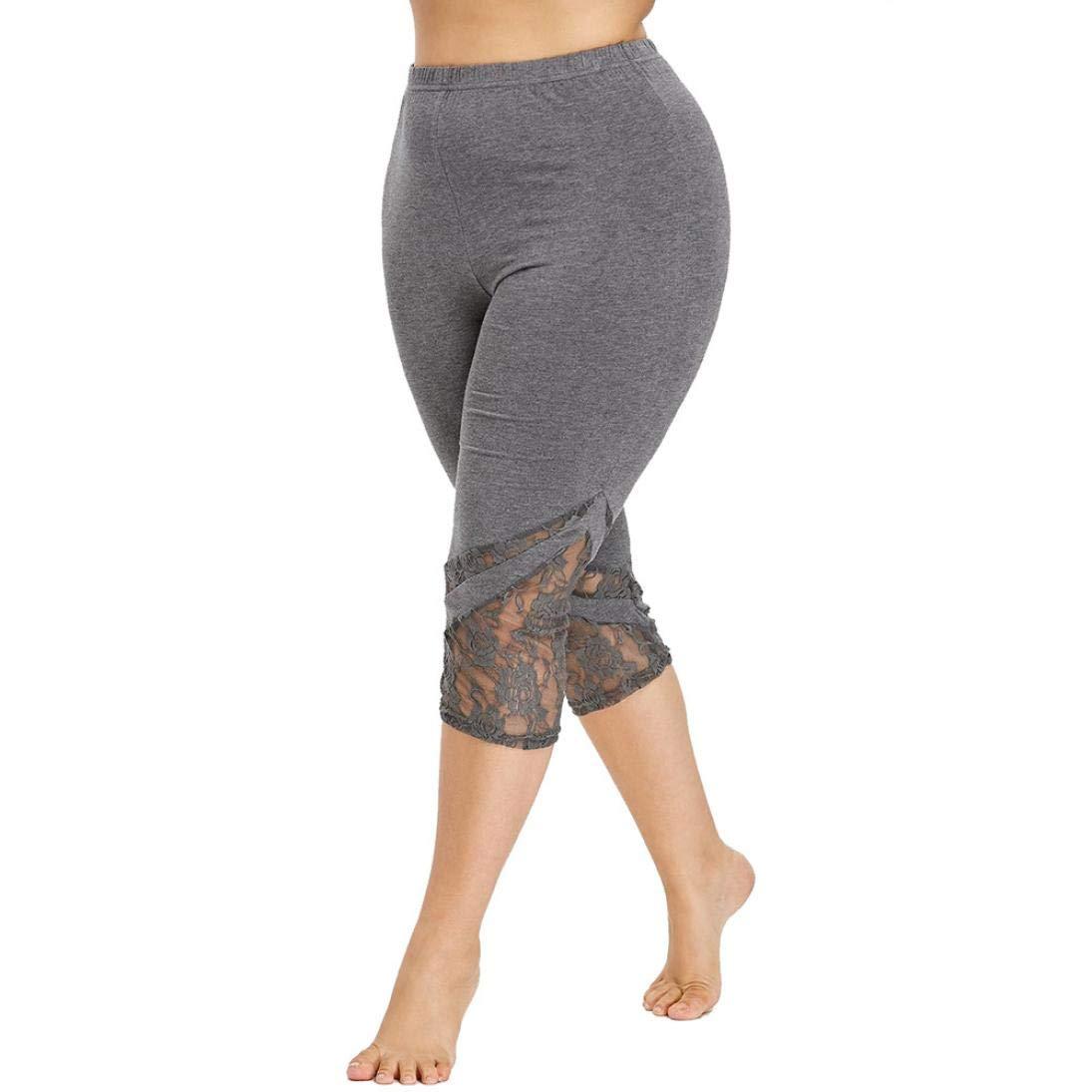 donne Taglia larga Pizzo fiore Ghette-Plus Size Pantaloni Elasticizzati -Allenamento Leggings Opaco Yoga Fitness -Ghette Donna-Pantaloni sportivi donna 3/4 lunghezza