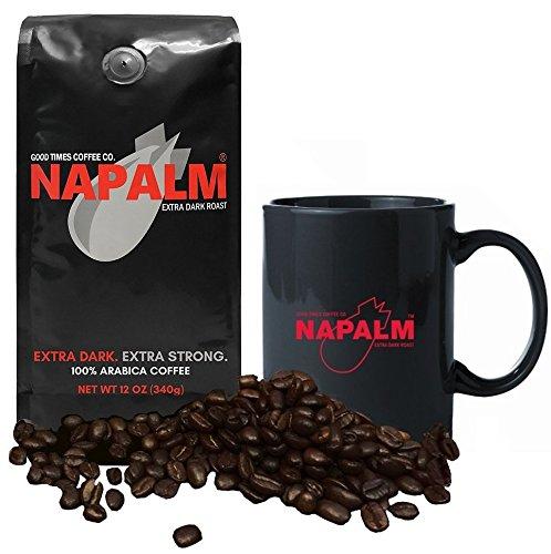 Napalm Coffee, EXTRA DARK ROAST, Whole Bean Coffee, 12 Ounce Bag - GIFT SET