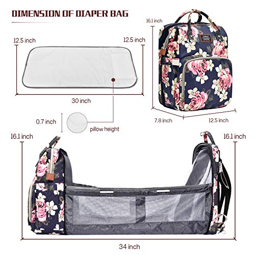 BRINCH Diaper Bag Backpack with Folding Crib,Large Capacity Diaper Bag Foldable Bed, Multifunctional Organizer for Women/Mom/Girls,Peony