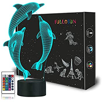 FULLOSUN Night Light for Kids Ocean Dolphin 3D Night Light Porpoise Bedside Lamp with Remote Control 16 Color Changing Xmas Halloween Birthday Gift for Child Baby Girl