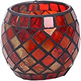 niceEshop(TM) Mosaic Glass Tea Light Votive Candle Holders Candleholder Stand (Red)