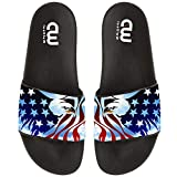 American Eagle Flag Print Summer Slides Slippers For Boy Girl Indoor Outdoor Beach Sandal Shoes size 2