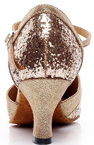 Débutant Doré Shoes Fête Fermé Chacha Dance Femme Practise Salsa Professionnel PU Bout Or CFP Latine Tango WT0qBpwU