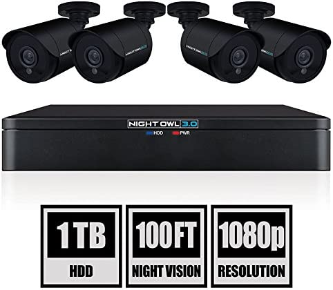 Night Owl CL-XHD301-84 8 Channel HD Video Security DVR with 1 TB HDD and 4X 1080p HD Wired Cameras