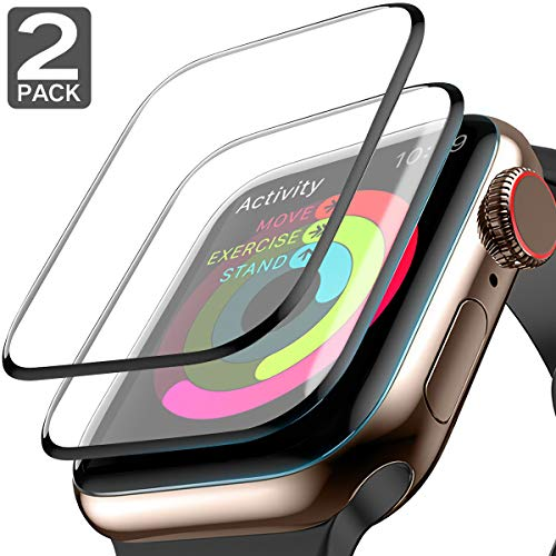 [2 Pack] Apple Watch Screen Protector 99% Max Coverage 3D Tempered Glass HD Anti-Bubble Scratch Resistant iWatch Screen Protector for iWatch Series 4 44mm