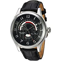 Lucien Piccard Men's 'The Capital' Quartz Stainless Steel and Leather Casual Watch, Color:Black (Model: LP-40050-01)